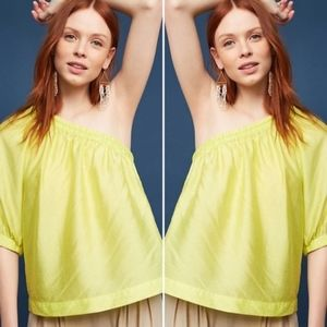Maeve Leonie Yellow One Shoulder Top Size Large